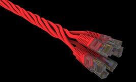сеть кабелей с черной пропиткой предпосылки переплела Стоковые Изображения