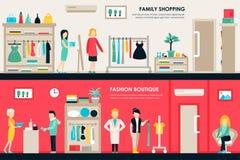 Сеть концепции плоского магазина комнат торгового центра и бутика внутренняя Мода одевает приобретение розницы мола клиентов иллюстрация штока