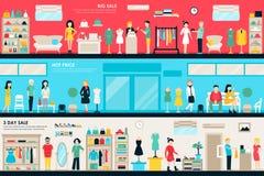 Сеть концепции плоского магазина комнат торгового центра и бутика внутренняя Мода одевает приобретение розницы мола клиентов бесплатная иллюстрация