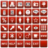 сеть красного квадрата 4 кнопок Стоковая Фотография RF