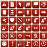сеть красного квадрата 2 кнопок Стоковое Изображение