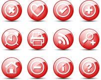 сеть красного цвета иконы установленная Стоковое Изображение RF