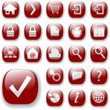 сеть красного цвета навигации иконы установленная Стоковая Фотография RF