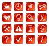 сеть красного цвета 2 икон кнопок Стоковая Фотография RF