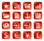 сеть красного цвета 3 икон кнопок Стоковые Фото