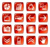 сеть красного цвета 4 икон кнопок