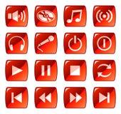 сеть красного цвета 5 икон кнопок Стоковые Фото