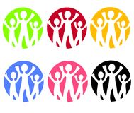 сеть логосов икон семьи Стоковое Изображение