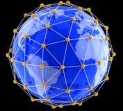 Сеть на глобусе Стоковое Фото
