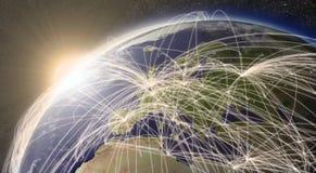 Сеть над Европой Стоковые Изображения