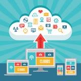 Сеть облаков и отзывчивый приспособительный веб-дизайн с значками вектора Стоковые Фотографии RF