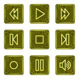 сеть плеера серии икон электроники карточки кнопок Стоковые Изображения RF