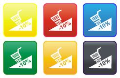 сеть покупкы тележки кнопки Стоковое Фото