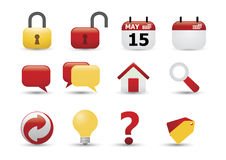 сеть померанцового красного цвета иконы установленная Стоковая Фотография RF