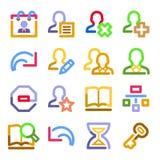 сеть потребителей серии икон контура цвета иллюстрация вектора