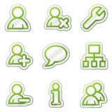 сеть потребителей стикера серии икон контура зеленая иллюстрация штока