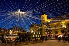 Сеть праздника освещает в большом квадрате Сибиу Стоковое фото RF