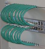 Сеть привязывает в пульте временных соединительных кабелей для соединения comput Стоковые Изображения RF