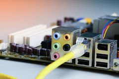 Сеть провода кабеля крупного плана подключенная к компьютеру Стоковое Изображение