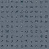 сеть профессионала иконы 100 серых цветов установленная Стоковое Изображение