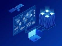 Сеть равновеликой глобальной информации цифровая, большое преобразование данных, станция будущего, шкаф энергии комнаты сервера,  иллюстрация вектора