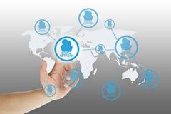 сеть руки кнопки отжимая social Стоковые Фотографии RF