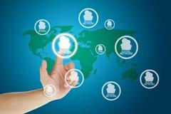 сеть руки кнопки отжимая social Стоковое Фото