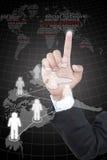 сеть руки нажимая social Стоковая Фотография RF