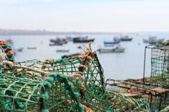 Сеть рыболова, море, Португалия, работа, стоковое изображение