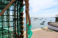 Сеть рыболова, море, Португалия, работа, Стоковые Изображения