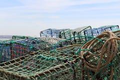 Сеть рыболова, море, Португалия, работа, Стоковая Фотография
