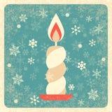 сеть сбора винограда шаблона страницы приветствию карточки предпосылки всеобщая горящая свечка вектор снежинок иллюстрации декора бесплатная иллюстрация