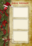 сеть сбора винограда шаблона страницы приветствию карточки предпосылки всеобщая Новый Год Christmas& Стоковые Фотографии RF