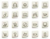 сеть серии икон электроники документа Стоковое Фото
