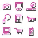 сеть серии икон электроники контура розовая Стоковое Изображение