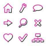 сеть серии основных икон контура розовая бесплатная иллюстрация