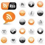 сеть символов rss икон Стоковые Фотографии RF