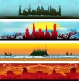 сеть сказки замока знамен Стоковое Изображение RF