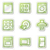 сеть стикера икон дома зеленого цвета контура приборов Стоковые Изображения