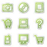 сеть стикера икон зеленого цвета электроники контура Стоковое Изображение