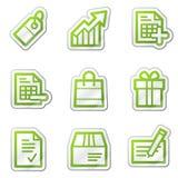 сеть стикера покупкы серии икон контура зеленая Стоковое Изображение RF