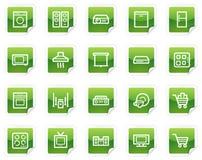 сеть стикера серии икон приборов зеленая домашняя Стоковые Изображения