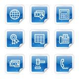 сеть стикера 2 голубых серий икон финансов установленная Стоковое Фото