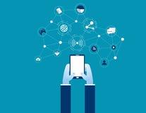Сеть с мобильным телефоном Шарж дизайна дела концепции иллюстрация вектора