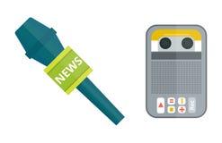 Сеть ТВ музыки интервью вектора диктафона магнитофона микрофона изолированная значком передавая вокальное радио голоса выставки и Стоковые Фотографии RF