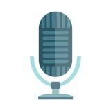 Сеть ТВ музыки интервью вектора микрофона изолированная значком передавая вокальное аудио радиоэфира голоса выставки инструмента  Стоковые Изображения