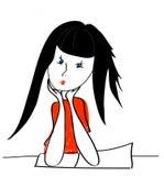 сеть универсалии шаблона страницы приветствию девушки шаржа карточки предпосылки бесплатная иллюстрация