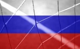 Сеть цели футбола на предпосылке флага России Стоковая Фотография RF