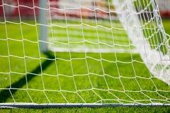 Сеть цели футбола Тангаж травы футбола Стоковое Фото