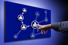 сеть человека иконы руки отжимая social Стоковые Изображения RF